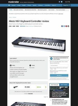 MusicRadar.com Alesis VI61 Keyboard Controller
