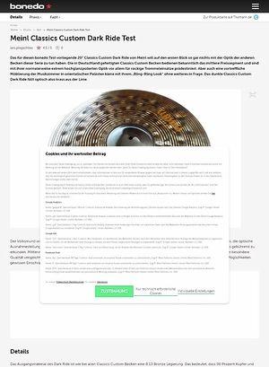 Bonedo.de Meinl Classics Custom Dark Ride