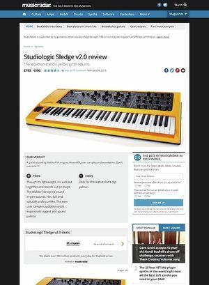 MusicRadar.com Studiologic Sledge v2.0