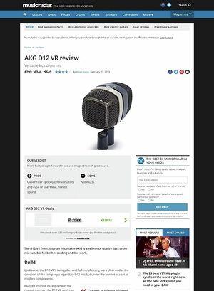 MusicRadar.com AKG D12 VR