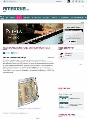 Amazona.de Test: Pearl Sensitone Snare Drums Teil I