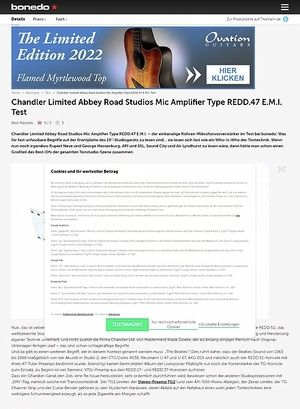 Bonedo.de Chandler Limited Abbey Road Studios Mic Amplifier Type REDD.47 E.M.I.