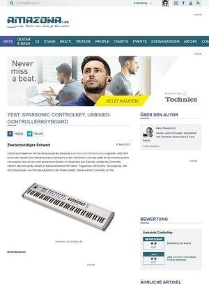 Amazona.de Test: Swissonic ControlKey, USB/MIDI-Controllerkeyboard