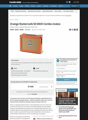 MusicRadar.com Orange Rockerverb 50 MKIII Combo