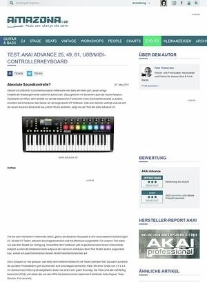 Amazona.de Test: Akai Advance 25, 49, 61, USB/MIDI-Controllerkeyboard