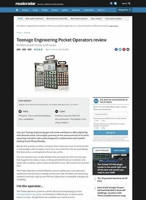 MusicRadar.com Teenage Engineering Pocket Operators