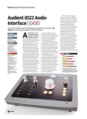 Future Music Audient iD22 Audio Interface