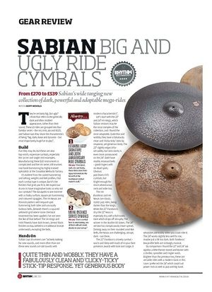 Rhythm Sabian Big And Ugly Ride Cymbals