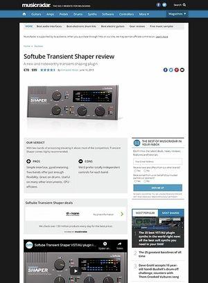 MusicRadar.com Softube Transient Shaper