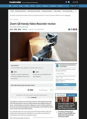 MusicRadar.com Zoom Q8 Handy Video Recorder