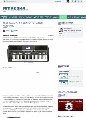 Amazona.de Test: Yamaha PSR-S670, Entertainer Keyboard