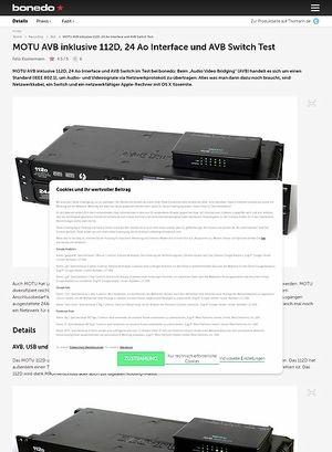 Bonedo.de MOTU AVB inklusive 112D, 24 Ao Interface und AVB Switch