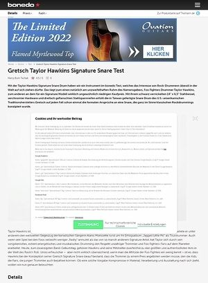 Bonedo.de Gretsch Taylor Hawkins Signature Snare Drum