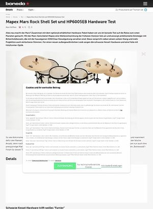 Bonedo.de Mapex Mars Rock Shell Set und HP6005EB Hardware