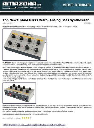 Amazona.de Top News: MAM MB33 Retro, Analog Bass Synthesizer