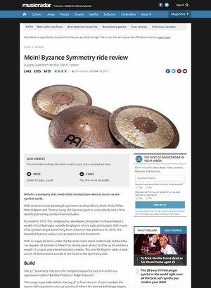 MusicRadar.com Meinl Byzance Symmetry ride