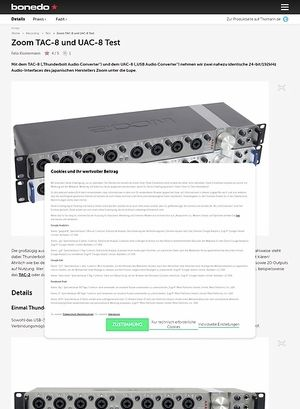 Bonedo.de Zoom TAC-8 und UAC-8