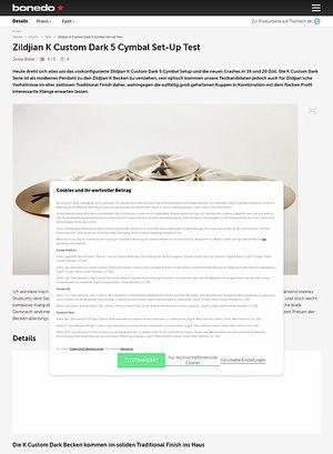Bonedo.de Zildjian K Custom Dark 5 Cymbal Set-Up