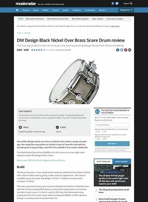 MusicRadar.com DW Design Black Nickel Over Brass Snare Drum