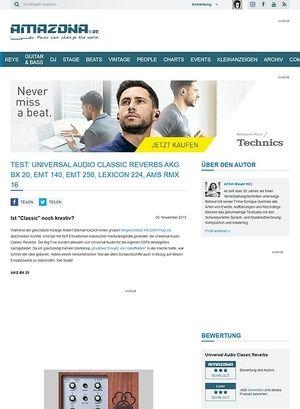 Amazona.de Test: Universal Audio Classic Reverbs AKG BX 20, EMT 140, EMT 250, Lexicon 224, AMS RMX 16