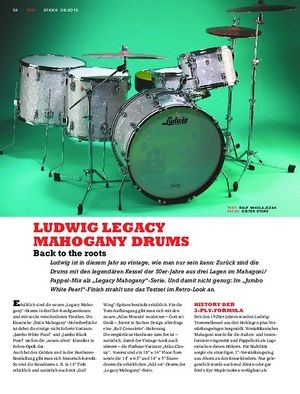 Sticks Ludwig Legacy Mahogany Drums