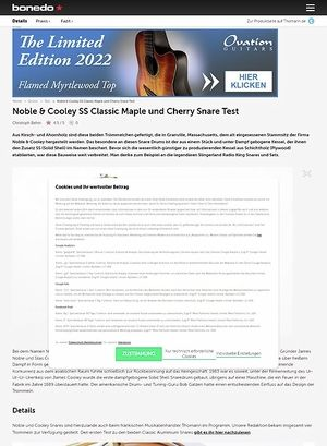Bonedo.de Noble & Cooley SS Classic Maple und Cherry Snare