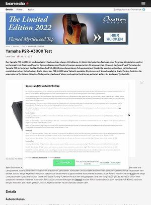 Bonedo.de Yamaha PSR-A3000