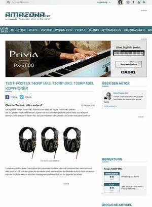 Amazona.de Test: Fostex T40RP MK3, T50RP MK3, T20RP MK3, Kopfhörer