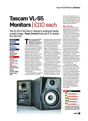 Future Music Tascam VL-S5 Monitors