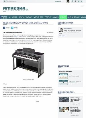 Amazona.de Test: Hemingway DP701 MKII, Digitalpiano