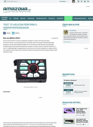 Amazona.de Test: TC-Helicon Perform-V, Mikrofonprozessor
