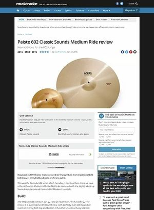 MusicRadar.com Paiste 602 Classic Sounds Medium Ride