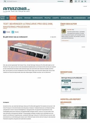 Amazona.de Test: Behringer Ultracurve Pro DEQ 2496, Mastering-Prozessor