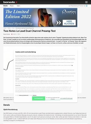 Bonedo.de Two Notes Le Lead Dual Channel Preamp