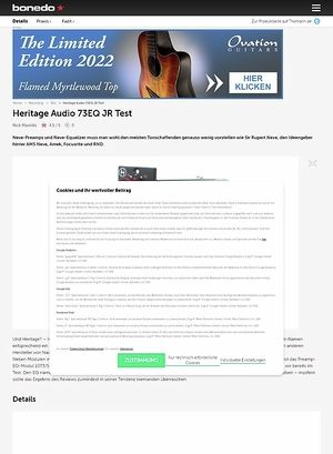 Bonedo.de Heritage Audio 73EQ JR Test