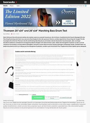 Bonedo.de Thomann 20x14 und 26x14 Marching Bass Drum