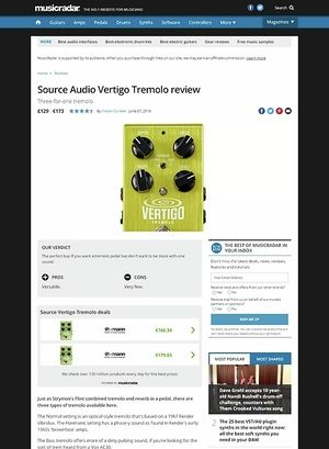 MusicRadar.com Source Audio Vertigo Tremolo