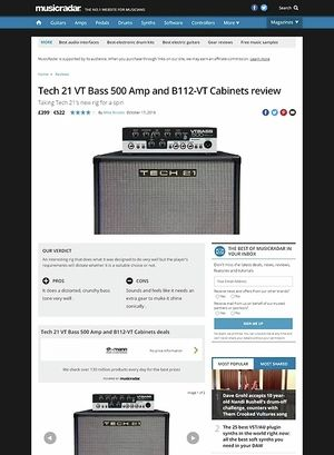 MusicRadar.com Tech 21 VT Bass 500 Amp and B112-VT Cabinets