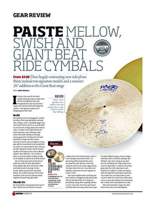 Rhythm Paiste Mellow, Swish and Giant Beat Ride Cymbals