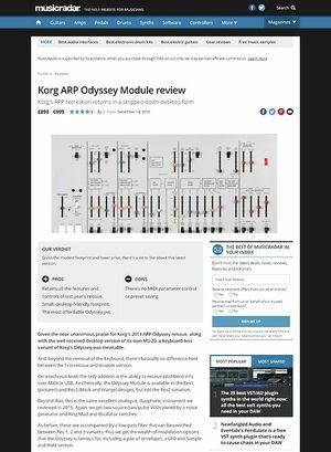 MusicRadar.com Korg ARP Odyssey Module