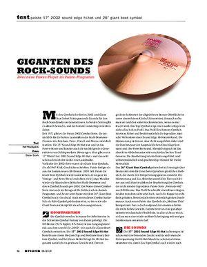 Sticks Paiste 17 2002 Sound Edge Hi-Hat und 26 Giant Beat Cymbal