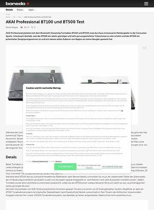 Bonedo.de AKAI Professional BT100 und BT500