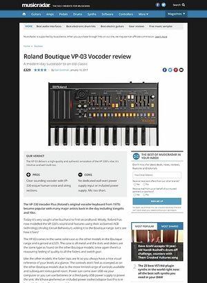 MusicRadar.com Roland Boutique VP-03 Vocoder