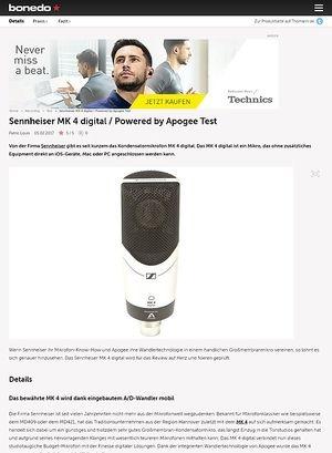 Bonedo.de Sennheiser MK 4 digital / Powered by Apogee