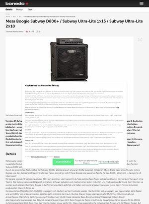 Bonedo.de Mesa Boogie Subway D800+ / Subway Ultra-Lite 1x15 / Subway Ultra-Lite 2x10
