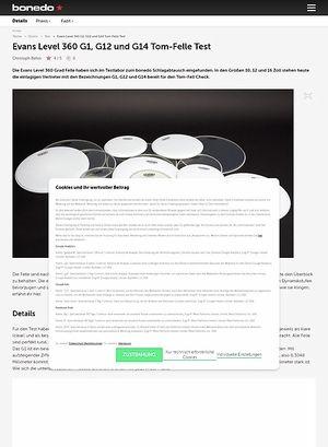 Bonedo.de Evans Level 360 G1, G12 und G14 Tom-Felle