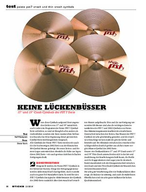 Sticks Paiste PST7 Crash Und Thin Crash Cymbals