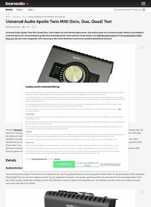 Bonedo.de Universal Audio Apollo Twin MKII (Solo, Duo, Quad)