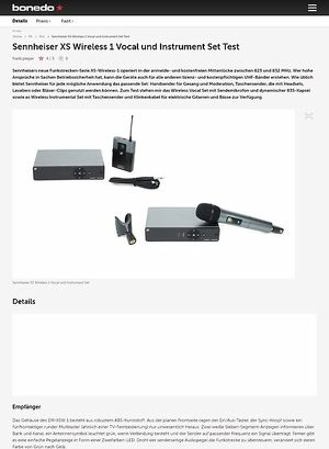 Bonedo.de Sennheiser XS Wireless 1 Vocal und Instrument Set