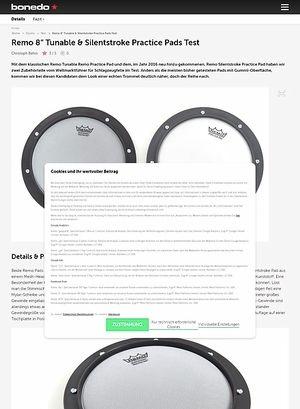 """Bonedo.de Remo 8"""" Tunable & Silentstroke Practice Pads"""